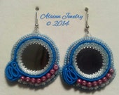 Bead Embroidered Soutache Mirror Earrings