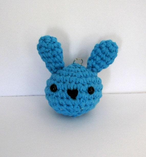 Amigurumi Bunny Keychain : Blue Bunny Amigurumi Keychain