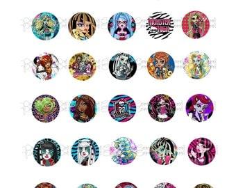 Monster High 2 Bottle Cap Images, 30 digital images
