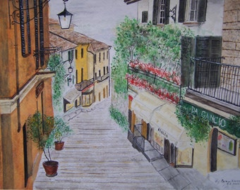 """watercolor painting,street scene,scenic and landscape painting,europe painting,10.5'X15'w,DA GANCIO"""".Artist Peter Kundra"""
