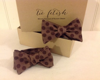 Father and son Brown dot freestyle  or self tie bow tie set