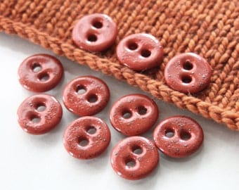 "10 Small Dark Red With Black Speckles Ceramic Buttons (18 mm / 0.7"")"