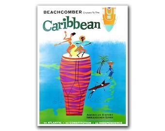 Caribbean Travel Poster Swimming Vintage Wall Art (H265)