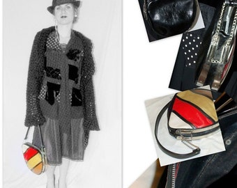 vintage 60s purse / 60s Handbag / 60s mod handbag / 60s black and white purse / 60s retro handbag