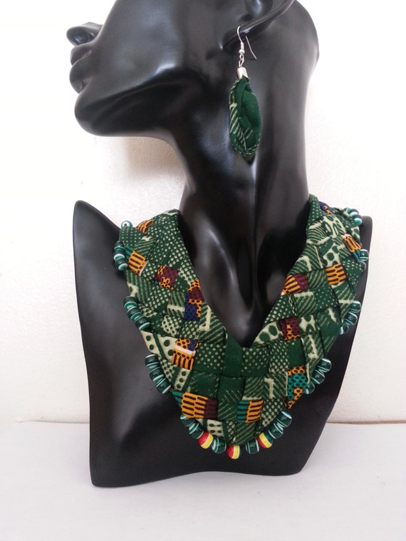 Chique Green  necklace set ( ankara style)  FREE DELIVERY