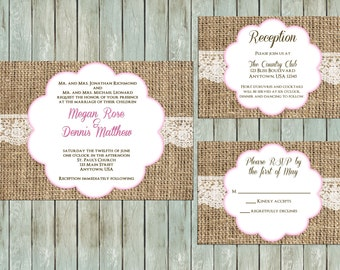 Printable Wedding Invitation Package, Rustic Burlap Lace Invitations, RSVP, Reception Cards