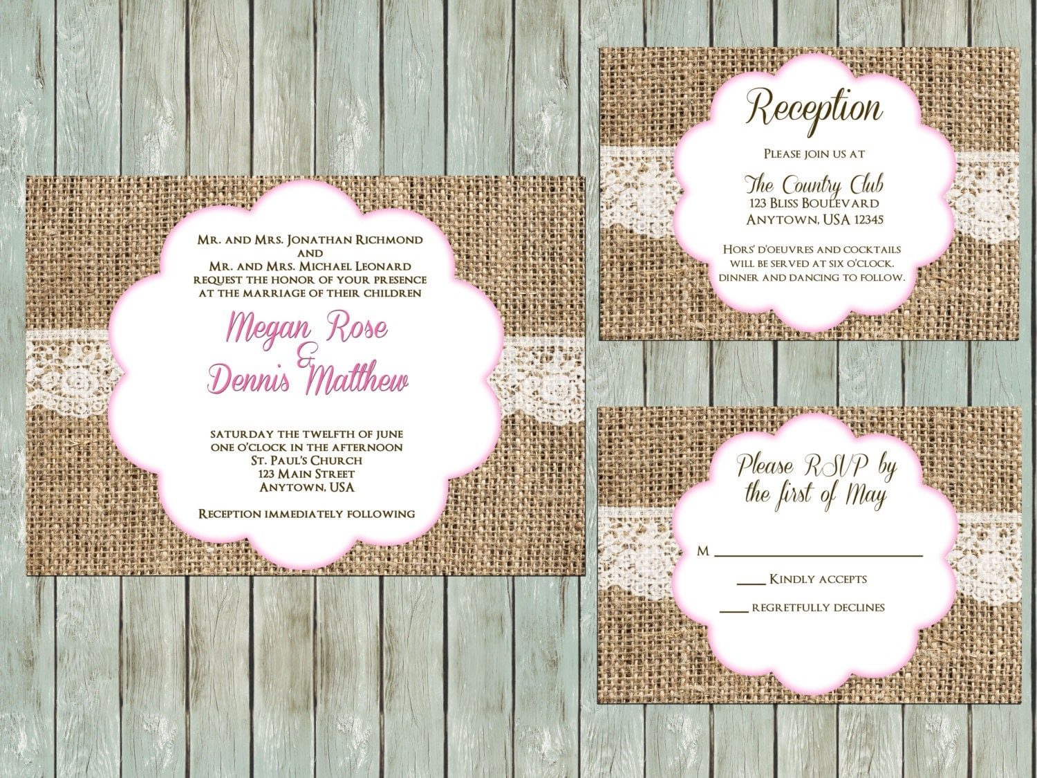 Printable Wedding Invitation Package Rustic Burlap Lace