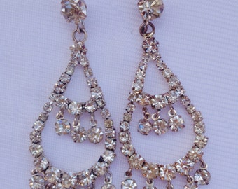 Vintage Glamorous Chandelier Rhinestone Earrings - Bridal Jewelry, Mother of the Bride Gift, Wedding Jewelry