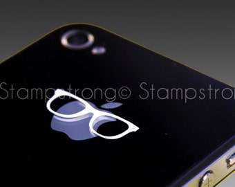 Apple Glasses Nerd decal sticker for Apple Logo iPhone All Models 3 3s 4 4s 5 5s 5c 6 6 Plus