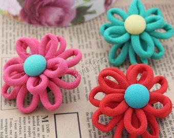 5 pcs Multilayer Flower With Fabric Button,Wholesale Flowers ,DIY Hair Accessories