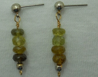 Green Tourmaline Earrings # 215