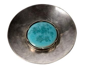 Heinmeyer .800 silver & pottery brooch German 1920's