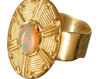 14k & opal ring constructed in the 30's