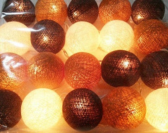 20 light brown tones cotton ball Bali string light wedding party display light decor room indoor outdoor