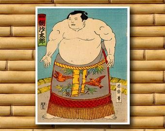 Japanese Sumo Art Poster Asian Wall Art Retro Decor Japanese Print (J38)