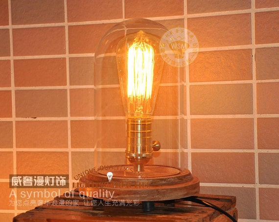 Oak And Glass Table Lamps: Vintage Bell Jar Table Lamps Steampunk Table By