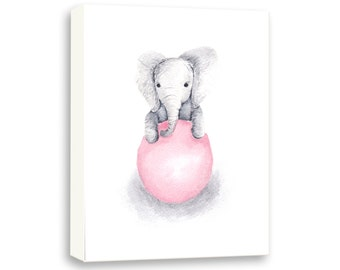 Elephant Canvas Print - Elephant Nursery Art - Kids Room Art - Pink and Gray - Nursery Decor - Custom Color - Art for Baby - E345N