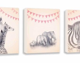Safari Animal Canvases - Watercolor Nursery Art - Baby Girl Nursery - Animal Nursery Decor - Pink and Gray - Canvas - S056