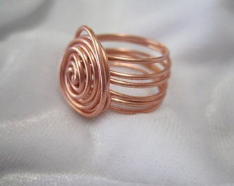 Copper Wire Spiral Swirl Ring Handmade Copper Jewelry Copper Ring Copper Womens Rings