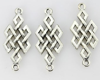 10 Pieces,Antique Silver Tone,Jewelry Connectors,Filigree Connector Beads Charm,Jewelry Findings---14*32mm---BF011