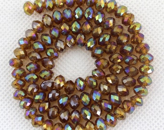 100 Pieces,6mm Sparkle Brown Rondelle Faceted Crystal Beads,Brown Crystal Beads,1 Strand,Crystal Beads,Gemstone Beads,Supplies--BR038