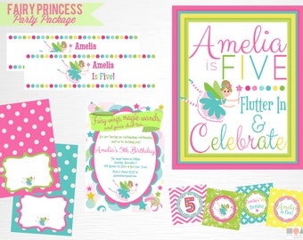 Fairy Princess Birthday Party Printable Party Package YOU Print