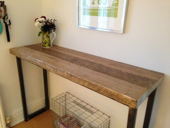 industrial mill reclaimed wood breakfast bar console table. Black Bedroom Furniture Sets. Home Design Ideas