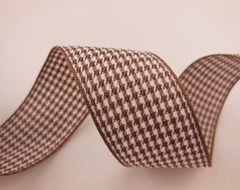 Brown and White Houndstooth Ribbon 1''