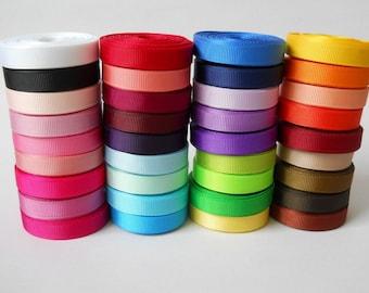 25yards 3/8'' 9mm solid Grosgrain Ribbon 36colors U Pick