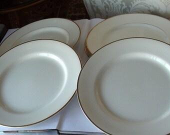 """Antique  Johnson Bross England White 10"""" Plates 4 Gold Rim White Dinner Plate Set -"""