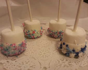 Frozen Inspired Chocolate Covered Marshmallow Pops Frozen Party Favors Disney's Frozen