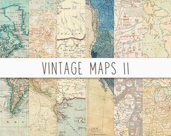Antique Maps Digital Paper, Vintage Maps Digital Paper, Digital Paper for Cards, Scrapbooking, Old Maps Digital Paper Pack, Instant Download