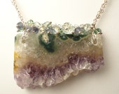 Amethyst Stalactite Necklace, Slice, Moss Green Aquamarine, Iolite, Swarovski Crystals. Sterling Silver, Wire Wrapped. Amethyst, Stalactite