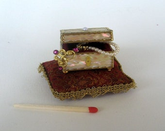 Dollhouse miniature chests for the Princess made of real pearls