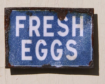 Miniature Dollhouse Vintage Inspired Tin Sign - Fresh Eggs (Blue)