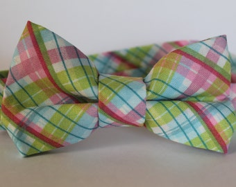 bright pink, blue, and green plaid bow tie, baby, boy, adjustable velcro closure