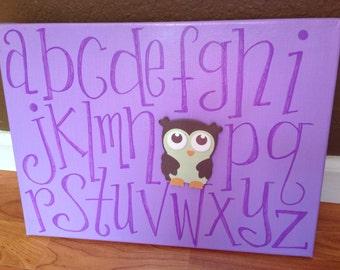 Little Girls Room Nursery Alphabet Wall Art, Handpainted, Flower or Owl, Baby shower gift