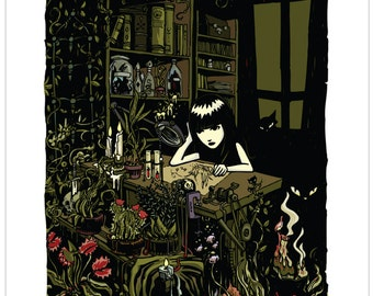 Garden Study, 11x14 Emily The Strange Art Print by Buzz Parker Limited Edition