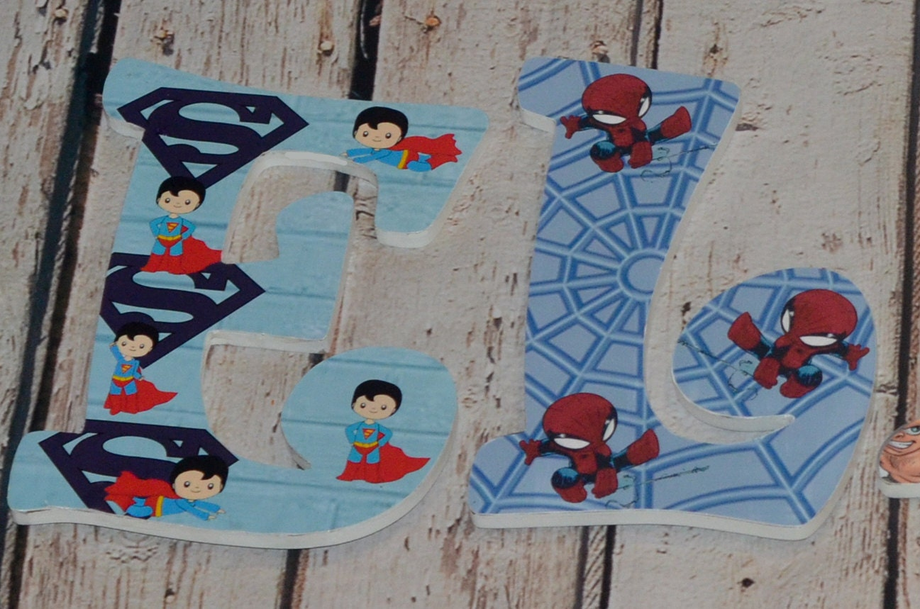 Custom Nursery Wooden Letters Baby Superhero Wooden Letters