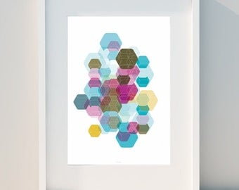 """Geometric poster """"Hexagon & Game Colors II"""" Art for home, Poster, home, wall decor, Print Design, A2, A3 or A4"""