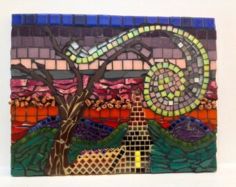 Mosaic. Church at Sunset.