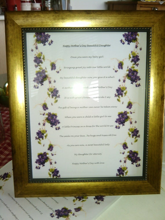 Framed Mothers Day poem for a daughter