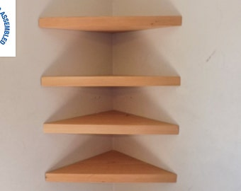 Set of 4 22 Inch Wide Floating Corner Shelves Choose a Stain Handmade in the USA