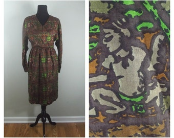 60s Abstract Dress Long Sleeved Tribal Print Earthy Tone Wrap Front Silk Dress Size S-M (6-8)
