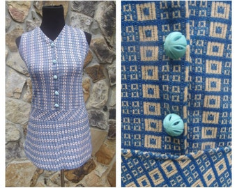 60s Scooter Dress Handmade Mod Retro Micro Mini Blue Retro Sz S