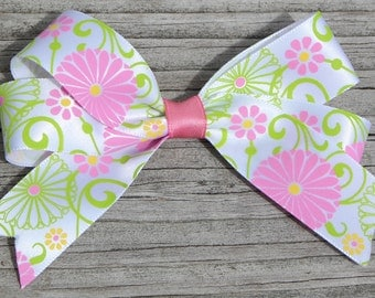 Pink & Lime Green Hair Bow Ponytail Holder, hair clip, or barrette for girls,toddlers, tweens, teens, adults