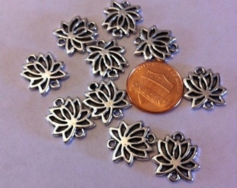 10 Lotus Flower connector charms beads