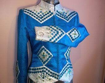 Turquoise w/ Silver Western Show Jacket. Blue Trim w/ Stones. Size - Small.