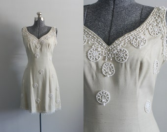 Vintage 1950s Dress / 50s Party Dress / Tan Beaded Party Dress w/ Low Back M