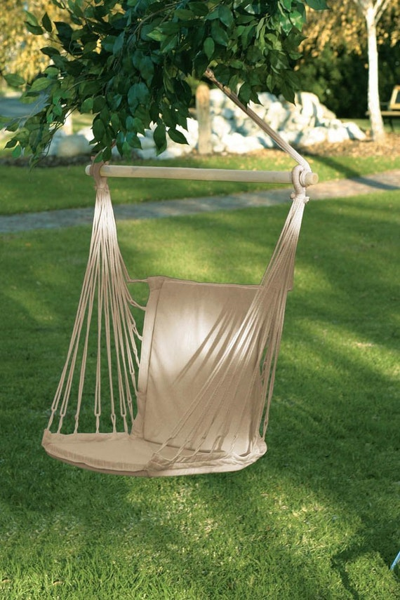 Wood frame natural cotton fabric canvas swing by aintitnice for Fabric hammock chair